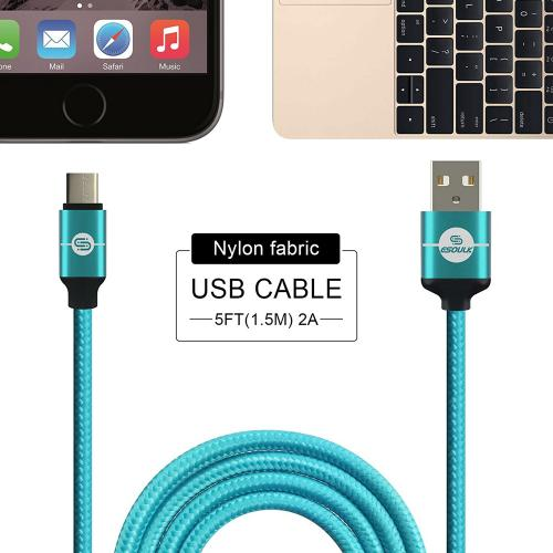 Type-C to USB 2.0 (A) Data & Sync Nylon Braided Charging Cable [Teal] 1.5M/ (5 Feet)