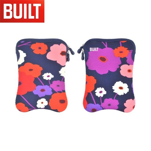 "Original BUILT (7-8"" Tablets like Amazon Kindle Fire) Hourglass Design Neoprene Sleeve Case, E-ES8-LSH - Purple/ Red/ Pink Flowers on Navy Blue"