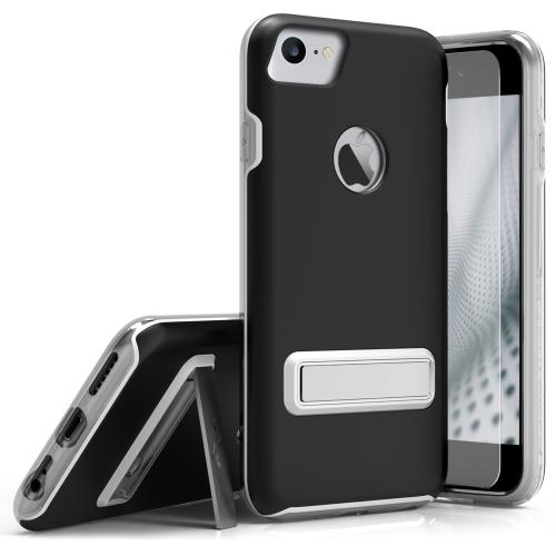 Made for Apple iPhone 8/7/6S/6 Case, ELITE Cover Slim Protective Case w/ Built-in [MAGNETIC Kickstand] Shockproof Protection Lightweight [Metallic Hybrid] w/ Tempered Glass [Black]