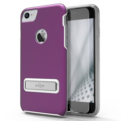 Apple iPhone 8/7/6S/6 Case, ELITE Cover Slim & Protective Case w/ Built-in [MAGNETIC Kickstand] Shockproof Protection Lightweight [Metallic Hybrid] w/ Tempered Glass [Purple]