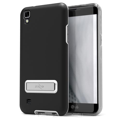 LG X Power Case, ELITE Cover Slim & Protective Case w/ Built-in [MAGNETIC Kickstand] Shockproof Protection Lightweight [Metallic Hybrid] w/ Tempered Glass [Black]