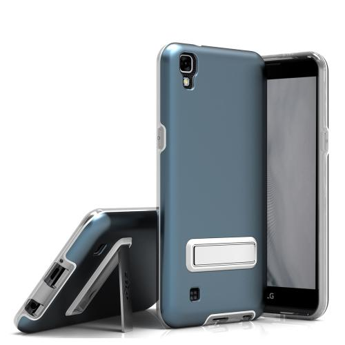LG X Power Case, ELITE Cover Slim & Protective Case w/ Built-in [MAGNETIC Kickstand] Shockproof Protection Lightweight [Metallic Hybrid] w/ Tempered Glass [Dark Blue]
