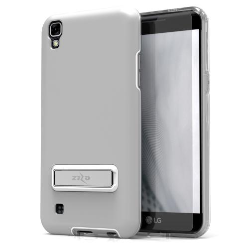 LG X Power Case, ELITE Cover Slim & Protective Case w/ Built-in [MAGNETIC Kickstand] Shockproof Protection Lightweight [Metallic Hybrid] w/ Tempered Glass [Silver]