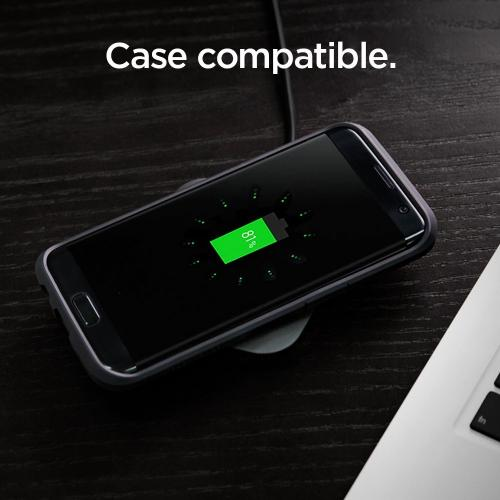 [Spigen] Essential F301W Qi Fast Charge Enabled Wireless Charger Charging Pad for Samsung Galaxy Note 8 / S8 / S8 Plus / S7 Edge & Other Qi Enabled Devices
