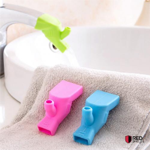 Eutuxia Water Tap, Faucet Extender for Kitchen & Bathroom Sinks. Gargling Fountain, Hand Washing, and Teeth Brushing Solution for Babies, Toddlers, Kids, and Children. Silicone Extension. [Hot Pink] (View amazon detail page)