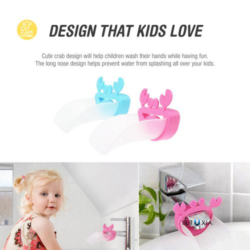 Eutuxia Water Spout & Faucet Extender for Kitchen and Bathroom Sinks. Perfect for Babies, Toddlers, Kids. Safe, Fun, and Easy Hand Washing Solution for Children. Unique & Cute Crab Design. [Pink 2PK]