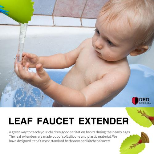 Eutuxia Water Spout & Faucet Extender for Kitchen and Bathroom Sinks. Perfect for Babies, Toddlers, Kids. Safe, Fun, and Easy Hand Washing Solution for Children. Unique & Cute Leaf Design. [Blue and Green]