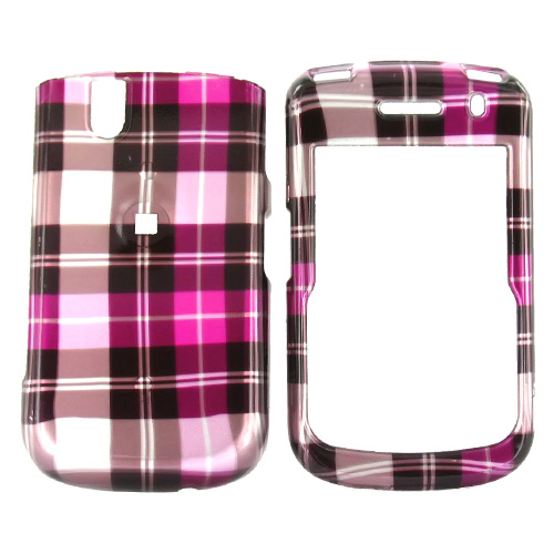 Blackberry Bold 9650 & Tour 9630 Hard Case - Checkered Plaid patternn of Hot Pink, Brown, Silver