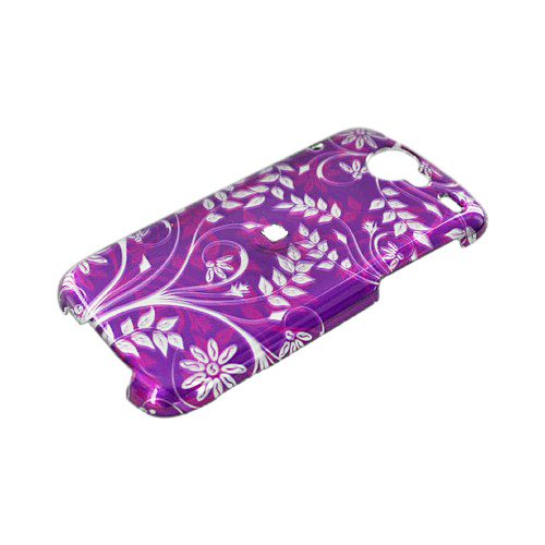 Google Nexus One Hard Case - Floral Design on Purple