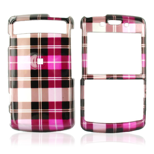 Samsung Intrepid i350 Hard Case - Plaid Pattern of Hot Pink, Brown, Pink