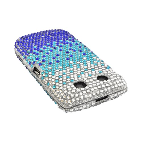 Blackberry Torch 9860, 9850 Bling Hard Case - Blue/ Turquoise Waterfall on Silver Gems