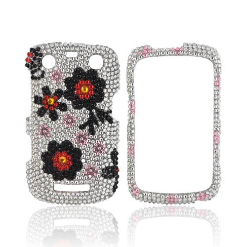 Blackberry Curve 9360 Bling Hard Case - Black/ Red Daisies on Silver Gems