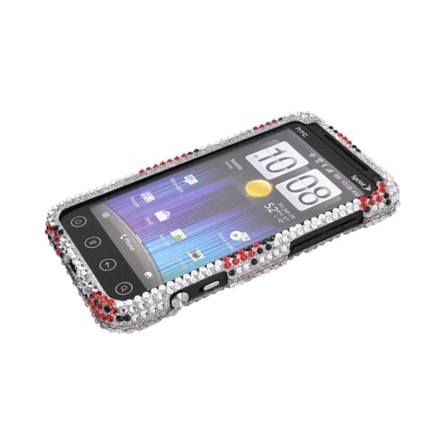 HTC EVO 3D Bling Hard Case - Red Ladybugs on Silver Gems