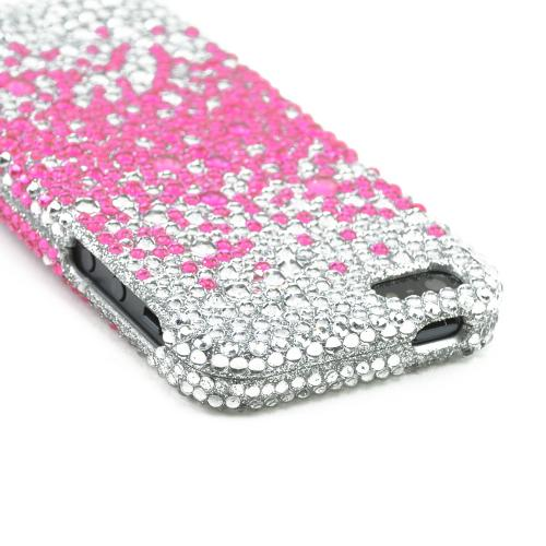 Made for Apple iPhone SE / 5 / 5S Bling Case,  [Hot Pink Splash Gems on Silver]  Shiny Sparkling Bling Gems Protective Hard Case Cover by Luxmo