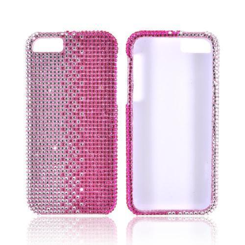 Apple iPhone SE / 5 / 5S Bling Case,  [Hot Pink/ Silver Gems]  Shiny Sparkling Bling Gems Protective Hard Case Cover