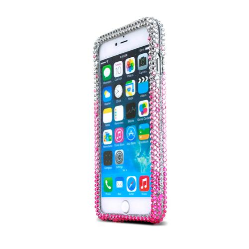 Apple iPhone 6 PLUS/6S PLUS (5.5 inch) Bling Case,  [Hot Pink/ Baby Pink Waterfall]  Jeweled Fashion Shiny Sparkling Gems Hard Case Cover