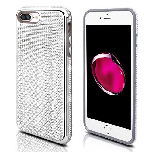 Made for Apple iPhone 8 Plus / 7 Plus / 6S Plus / 6 Plus Case, Diamante [Czech Crystal-Encrusted] TUFF Contempo Hybrid Bling Protector Cover [Silver] with Travel Wallet Phone Stand by Redshield
