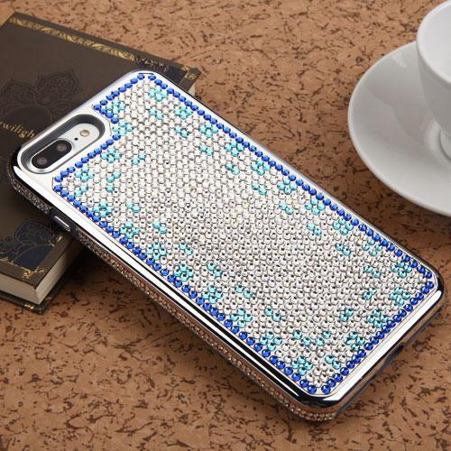 Made for Apple iPhone 8 Plus / 7 Plus / 6S Plus / 6 Plus Case, Diamante [Czech Crystal-Encrusted] TUFF Contempo Hybrid Bling Protector Cover [Silver w/ Blue Aqua Gradient] with Travel Wallet Phone Stand by Redshield