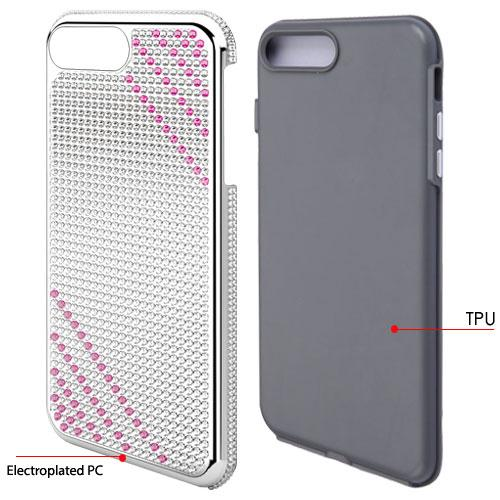 Apple iPhone 8 Plus / 7 Plus / 6S Plus / 6 Plus Case, Diamante [Czech Crystal-Encrusted] TUFF Contempo Hybrid Bling Protector Cover [Silver w/ Hot Pink Stripes] with Travel Wallet Phone Stand