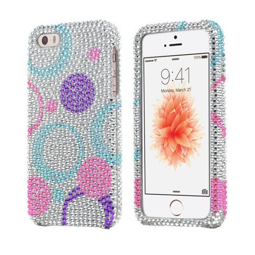 Apple iPhone SE/5/5S Bling Case,  [Purple/Blue/Pink Circles on Silver]  Shiny Sparkling Bling Gems Protective Hard Case Cover