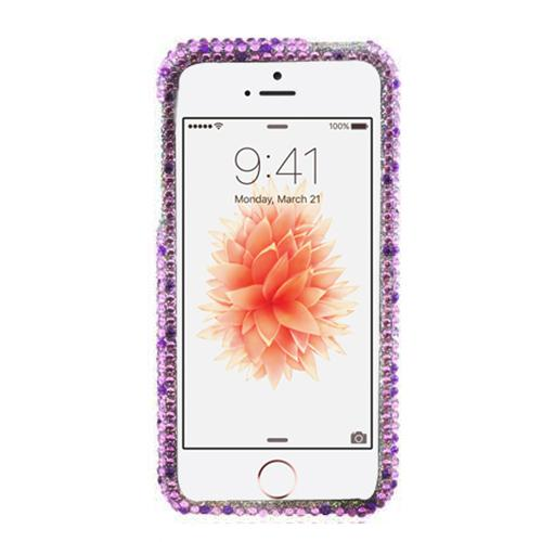 Made for Apple iPhone SE/5/5S Bling Case,  [Purple Hearts on Light Purple/ Silver Gems]  Shiny Sparkling Bling Gems Protective Hard Case Cover by Redshield