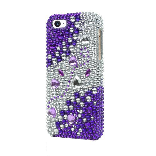Made for Apple iPhone SE/5/5S  Bling Case,  [Purple/ Silver Rhinestones]  Shiny Sparkling Bling Gems Protective Hard Case Cover by Redshield