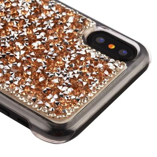 Apple iPhone X Bling Case, [Gold] Hard Back Protector Cover Case w/ 3D Rhinestones & Diamond Elements