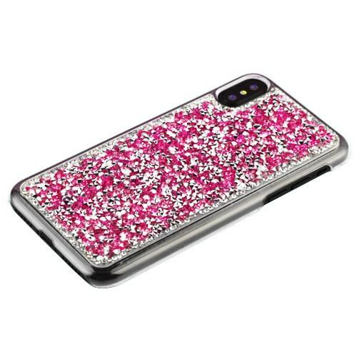 Apple iPhone X Bling Case, [Hot Pink] Hard Back Protector Cover Case w/ 3D Rhinestones & Diamond Elements