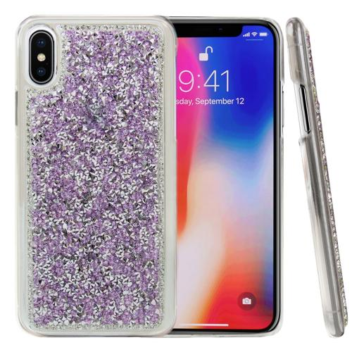 Made for [Apple iPhone X / XS 2018] Bling Case, [Purple] Hard Back Protector Cover Case w/ 3D Rhinestones Diamond Elements by Redshield