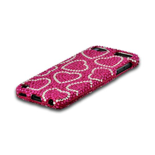 Silver Hearts on Pink Gems Bling Hard Case for Apple iPod Touch 5