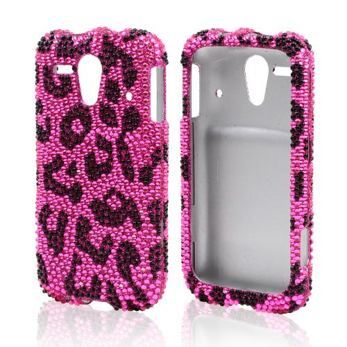 Black Leopard on Pink Bling Hard Case for Kyocera Hydro Edge