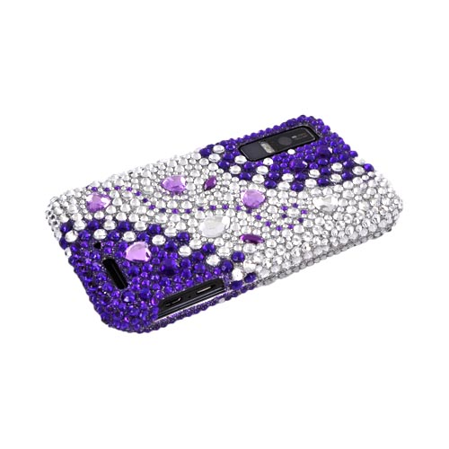 Motorola Droid 3 Bling Hard Case - Purple/ Silver Hearts & Gems