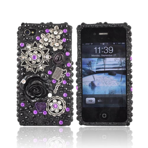 Luxmo Apple Verizon/ AT&T iPhone 4, iPhone 4S Bling Hard Case - Metal Flowers on Purple/Black Gems