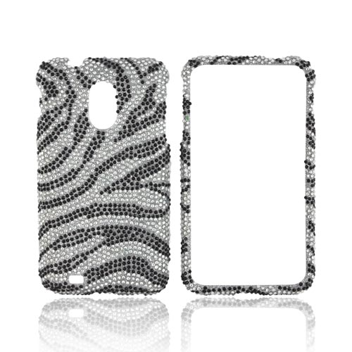 Samsung Epic 4G Touch Bling Hard Case - Black Zebra on Silver Gems