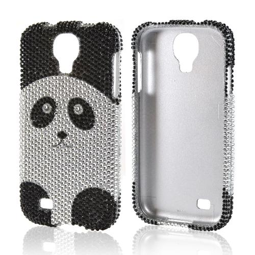 Silver/ Black Panda Bear Bling Hard Case for Samsung Galaxy S4