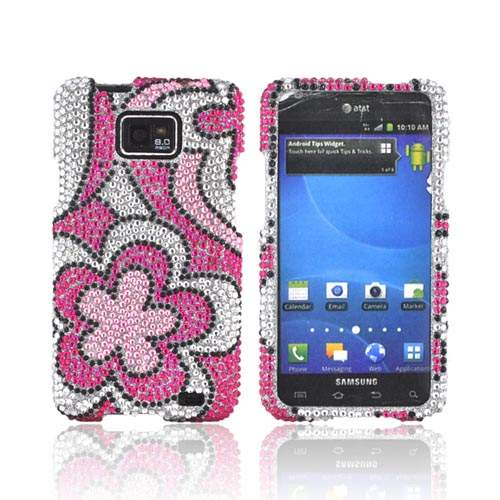 AT&T Samsung Galaxy S2 Bling Hard Case - Pink/ Hot Pink Flowers on Silver Gems