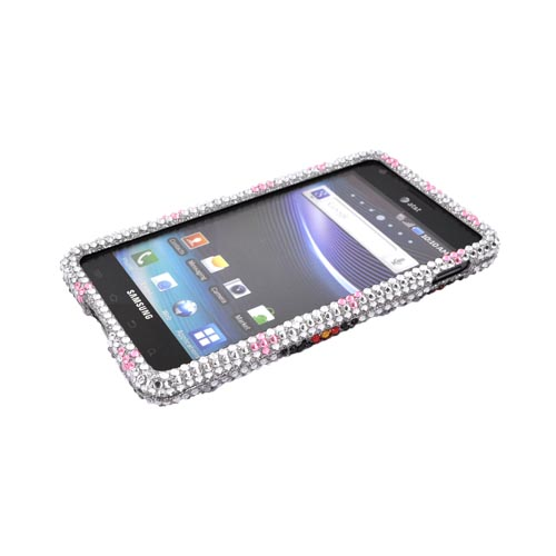 Samsung Infuse i997 Bling Hard Case - Black/ Red Daisies on Silver Gems