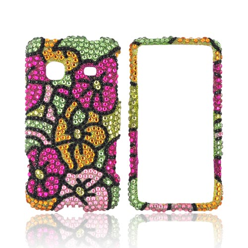 Samsung Galaxy Prevail M820 Bling Hard Case - Green/ Pink/ Yellow Hawaii Flowers