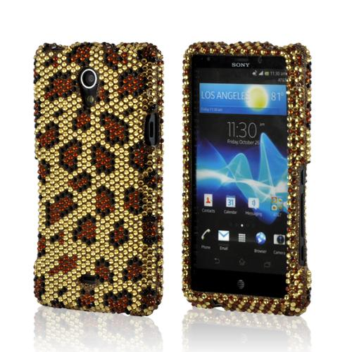 Brown Leopard on Gold Gems Bling Hard Case for Sony Xperia TL
