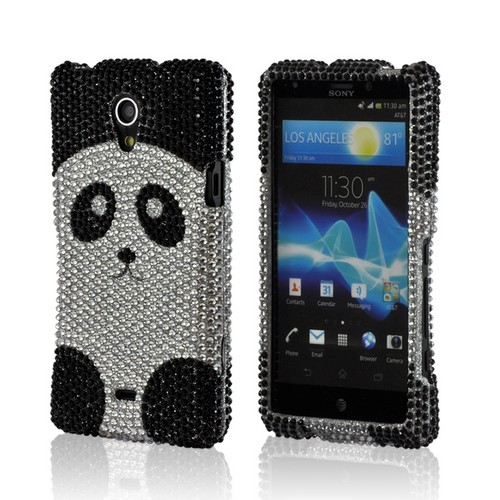 Black/ Silver Panda Bling Hard Case for Sony Xperia TL