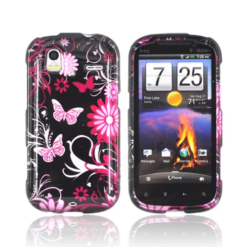 HTC Amaze 4G Hard Case - Pink Flowers & Butterflies on Black