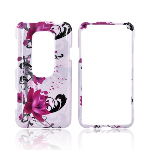 HTC EVO 3D Hard Case - Pink Flowers on White