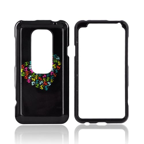 HTC EVO 3D Hard Case - Rainbow Skulls Heart on Black