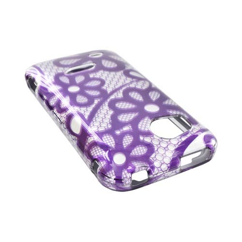 HTC Rezound Hard Case - Purple Lace Flowers on Silver