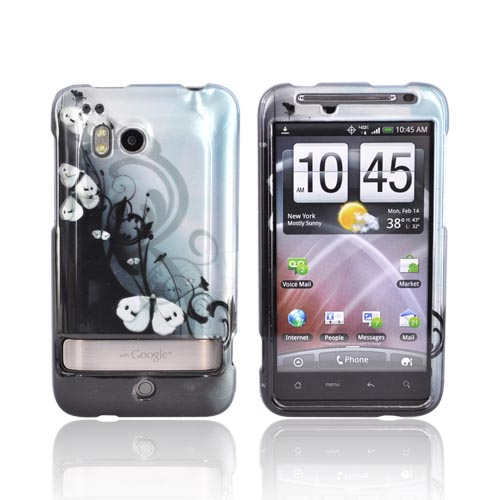 HTC Thunderbolt Hard Case - White Butterflies on Black/Blue
