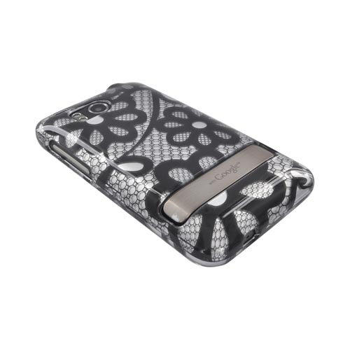 HTC Thunderbolt Hard Case - Black Lace Flowers on Silver