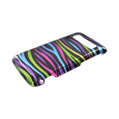 HTC Trophy Hard Case - Rainbow Zebra on Black