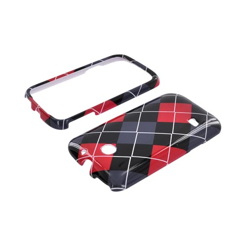 Huawei Ascend 2 M865 Hard Case - Red/ Gray/ Black Argyle