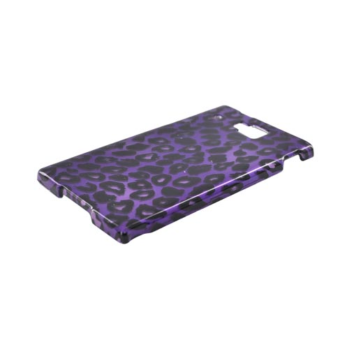Huawei Ideos X6 Hard Case - Black Leopard on Purple