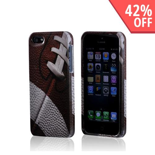 Made for Apple iPhone SE / 5 / 5S Hard Case,  [Brown/ White Football]  Slim Protective Crystal Glossy Snap-on Hard Polycarbonate Plastic Case Cover by Redshield